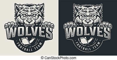 logo, drużyna, piłka nożna, monochromia, rocznik wina