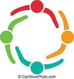 logo, drużyna, projektować, 4, spotkanie