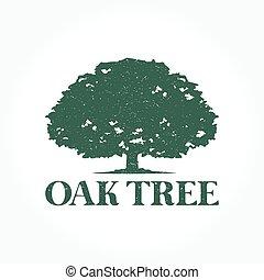 logo, drzewo, dąb