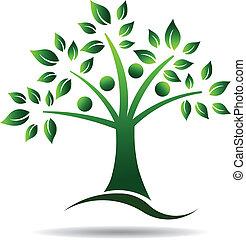 logo, drzewo., drzewo, rodzina, ludzie