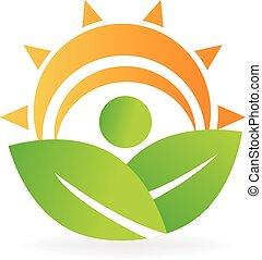 logo, energia, zdrowie, liście, natura