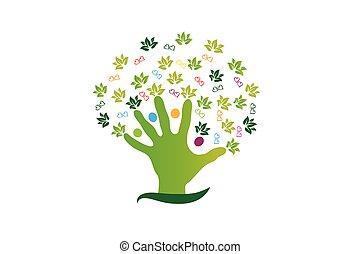 logo, figury, ludzie, drzewo, ręka