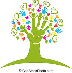 logo, figury, serca, drzewo, siła robocza