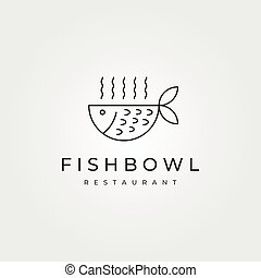 logo, fish, projektować, minimalny, projektować, puchar, symbol, sztuka, kreska, wektor, ilustracja, restauracja, ikona