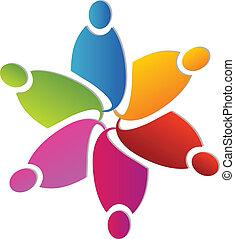 logo, formułować, kwiat, teamwork, barwny