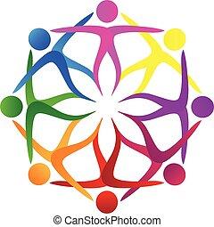 logo, formułować, kwiat, teamwork, ludzie
