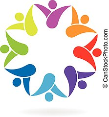 logo, formułować, kwiat, teamwork