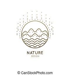 logo, góra, rzeka, słoneczny