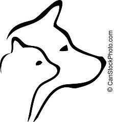 logo, głowy, pies, kot