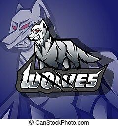 logo, gniewny, esports, wolves, maskotka