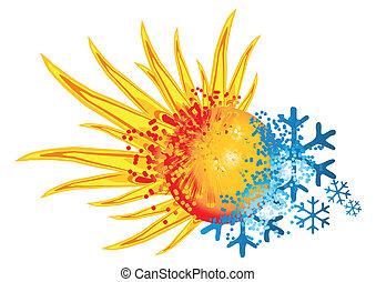 logo, gorący, przeziębienie