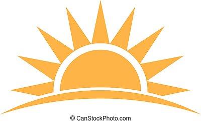 logo., graficzny, wektor, światło słoneczne, ilustracja