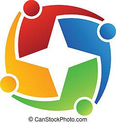 logo, gwiazda 4, handlowy, design.