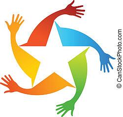 logo, gwiazdy, ręka