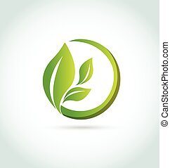 logo, healh, liście, natura