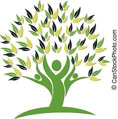 logo, ikona, drzewo, ludzie, natura