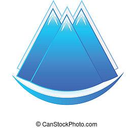 logo, ikona, góry