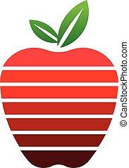 logo, jabłko, pasy