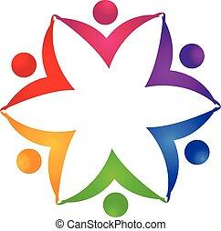 logo, jedność, kwiat, teamwork, ludzie