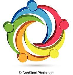 logo, jedność, ludzie, teamwork, 3d