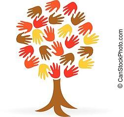 logo, jedność, siła robocza, drzewo, ludzie