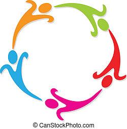 logo, koło, teamwork, dookoła