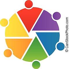 logo, koło, teamwork, ludzie