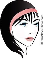 logo, kobieta, ładny