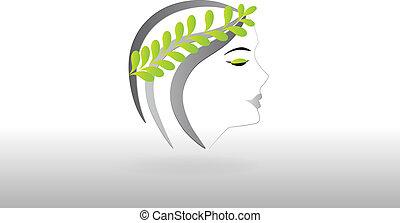 logo, kobieta, ładny, twarz
