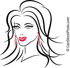 logo, kobieta, fason, piękno, twarz