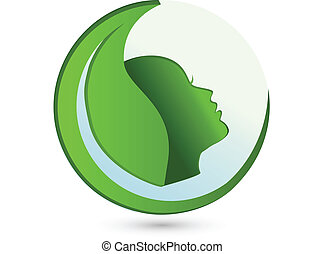 logo, kobieta, liść, piękno