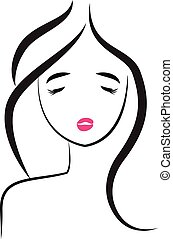 logo, kobieta, pretty-sexy, twarz