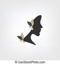 logo, kobieta, -, profil