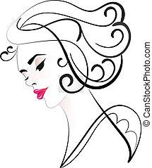 logo, kobieta, sylwetka, ładny, twarz