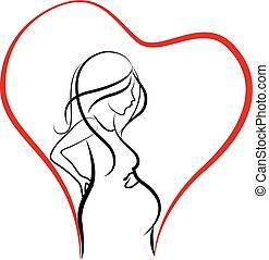 logo, kobieta, sylwetka, brzemienny