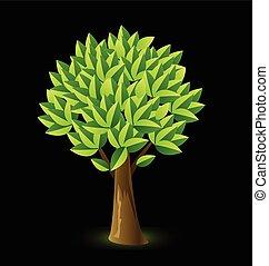 logo, kolor, wektor, drzewo, żywy
