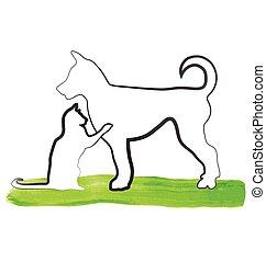 logo, kot, interpretacja, pies