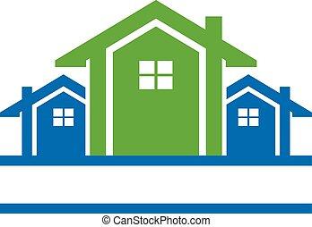 logo, kreska, domy