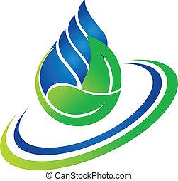 logo, kropla, zielony liść, woda