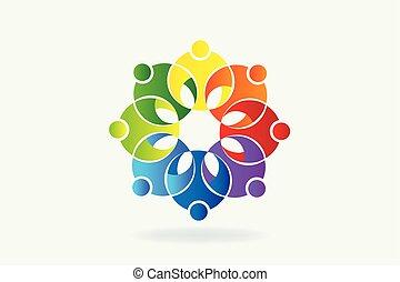 logo, kwiat, teamwork