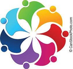 logo, kwiat, teamwork, ludzie, tęcza