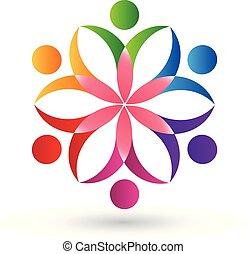 logo, kwiat, teamwork, ludzie