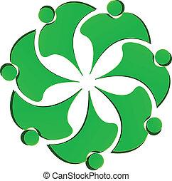 logo, kwiat, zielony, ludzie, teamwork