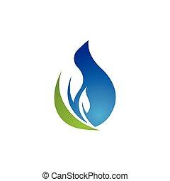 logo, liść, kropla, wektor, woda