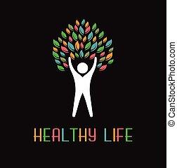 logo, liście, drzewo, ludzie