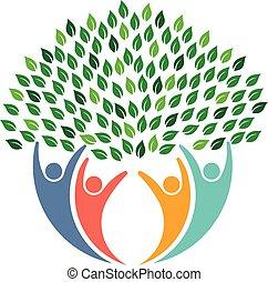 logo., ludzie, środowiskowy, drzewo