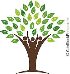 logo, ludzie, drzewo, grupa