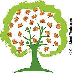 logo, ludzie, drzewo, pora
