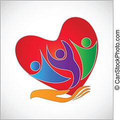 logo, ludzie, ręka, serce
