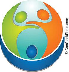 logo, ludzie, teamwork, dookoła, świat